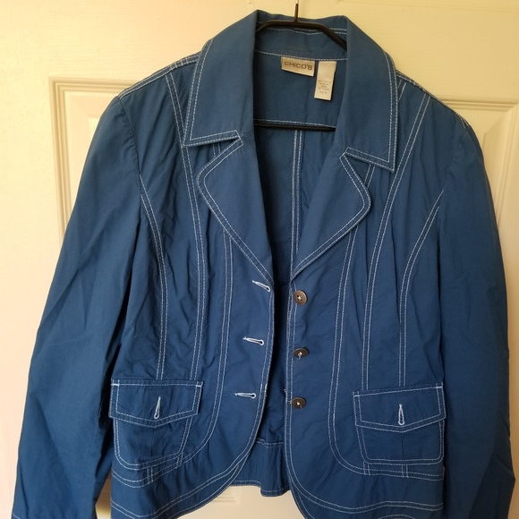 Chico's Jackets & Blazers - Blue Jacket with white stitching - cute!